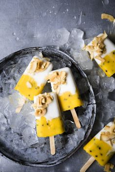 ... mango and passionfruit coconut popsicles ... #recipe