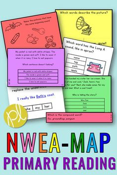 Test prep can be fun AND effective! These materials are aligned with the NWEA-MAP Primary Reading assessment. There's a huge bundle that includes question cards, slides to display, sight word pages, and even center games! The bundle covers both Primary Reading and Primary Math and all materials are organized by RIT band. #nwea #nweamap
