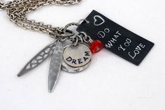 """Hand Stamped """"Dream, Do What You Love"""" Long Charm Necklace in Mixed Antiqued Silver and Gunmetal 36"""" length Inspirational gift for her"""