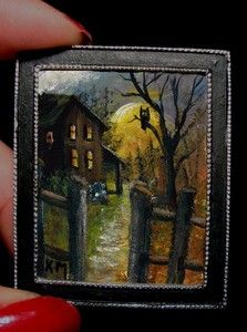 "Dollhouse Mini Framed Painting""Harvest Moon Night"" Autumn Halloween by K Manuel   eBay"