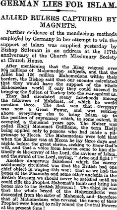 """May 3rd 1916: """" German Lies for Islam."""" The Kaiser prayed at Mecca and the British want Mohammed's bones for their museum. - World War I Live (@roadtowar1914)   Twitter"""