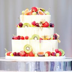Awesome wedding cake with real fruit and white chocolate.