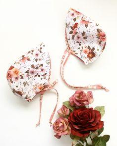 & months, Reversible Sun Bonnet, Vintage Floral/Pink Stripe by babyBbasic on Etsy Nape Of Neck, Pink Stripes, Vintage Floral, 12 Months, Sun, Cotton, Handmade, Accessories, Etsy