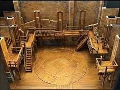 Hamilton Set Design: Warm wooden set, exposed, staircases, balconies, paneling                                                                                                                                                                                 More