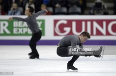 Patrick Chan (L) competing for Canada and Max Aaron competing for the United States practice at Budweiser Gardens in preparation for the 2013 World Figure Skating Championships in London, Ontario, Canada, March 11, 2013. Skaters from around the globe are preparing for the competition which starts on Wednesday. AFP PHOTO/Brendan SMIALOWSKI (Photo credit should read BRENDAN SMIALOWSKI/AFP/Getty Images)