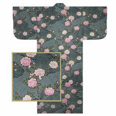 "Japanese Yukata Kimono Robe Sash Belt Women 58/"" Cotton Iris Flower Made in Japan"