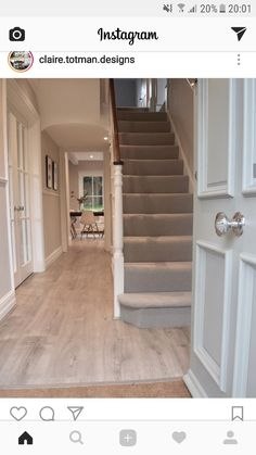 Hallway with carpet or stair runner, spotlights and double-doors into the left-hand room. Also like the front door knob Hallway with carpet or stair runner, spotlights and double-doors into the left-hand room. Also like the front door knob Entrance Hall Decor, Hallway Ideas Entrance Narrow, House Entrance, Modern Hallway, 1930s Hallway, Front Hallway, Stairs And Hallway Ideas, Small Entrance Halls, Victorian Hallway