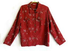 Embroidered Dark Red Blouse Floral Blouse Floral Shirt Long Sleeves Women's Clothing Metal Buttons Shirt with Two Front Pockets Linen Blouse…