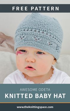 Odeta Hat / DROPS Baby - Knitted hat for babies with lace pattern and ridges. The piece is worked in DROPS BabyMerino. Odeta hat / DROPS Baby - free knitting patterns by DROPS design Monika Zywek monikazywe Baby Knitting Patterns, Baby Hat Patterns, Baby Hats Knitting, Free Knitting, Knitted Hats, Crochet Patterns, Knitting Socks, Crochet Ideas, Drops Design