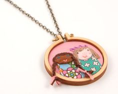 DIY miniature embroidery hoop with necklace  by dandelyne on Etsy, $19.00
