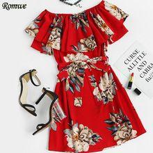 ROMWE Impresión Floral En Capas Una Línea de Vestido Con Cinturón Vestidos Cortos para la Fiesta Elegante Rojo de Manga Corta Vestido de Cuello Barco(China (Mainland))