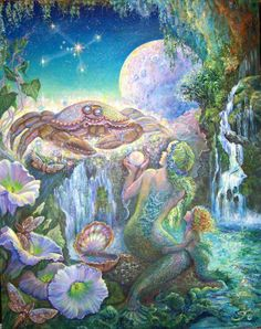 """""""Cancer"""" by Josephine Wall. (Josephine Wall (born May 1947 in Farnham, Surrey) is a popular English fantasy artist and sculptor. Josephine Wall, Cancer Moon, Gemini And Cancer, Zodiac Cancer, Cancer Horoscope, Cancer Astrology, Monthly Horoscope, Daily Horoscope, Art Zodiaque"""