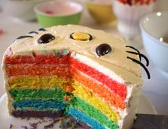 Hello kitty Birthday party including this AWESOME rainbow cake!