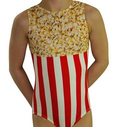 Box of Popcorn Leotard. Available in Sizes Child S - Adult Large