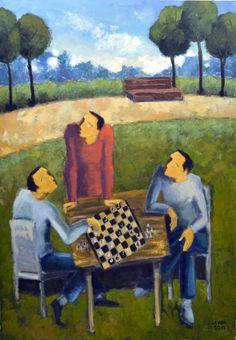 "Levan Stepanyan, Chess Players, 2014, 37 x 26,"" Oil on canvas. www.josefglimergallery.com/Levan_Works.html"