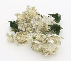 Short Stems Wedding Crowns Halos Flower Crowns Three ANTIQUE CREAM Skimmia Flower Clusters Artificial Flowers