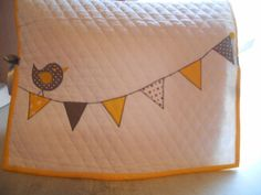 Sewing Machine Dust Cover, Bird and Flags, Yellow and Gray, Quilted #1