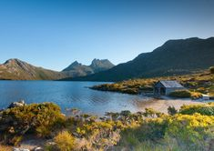 Historic boat shed by Dove Lake under Cradle Mountain