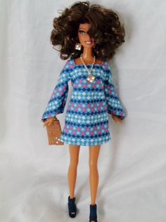 Barbie Doll Clothes - NiteBaby Blue Diamond Print Shift Dress w/ Raglan Sleeves by NiteBabyDollWorld on Etsy