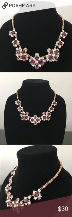 "Fashionable necklace Clear and colored crystal are beautiful arrange in a flower - like designed in a gold- tone mixed metal. Approx length: 18"" + 2 extender. Drop length is 1 - 1/2"". Charter Club Jewelry Necklaces"