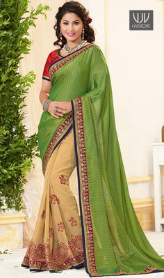 Hina Khan Jacquard Lace Work Half N Half Designer Saree This cream and green jacquard and georgette half n half saree is including the attractive glamorous displaying the sense of cute and graceful. Beautified with embroidered, lace and resham work all synchronized well with all the pattern and design of the attire. Comes with matching blouse.
