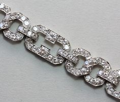 Diamond and Platinum Art Deco Bracelet | From a unique collection of vintage link bracelets at https://www.1stdibs.com/jewelry/bracelets/link-bracelets/