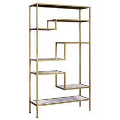 Versanora VNF-00035 Marmo Large 5-Tier Display Shelf, Faux Marble/Brass, 40.00x13.50x72.00