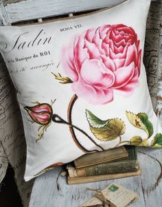 Cottage Rose Pillow Cover Burlap and Cotton