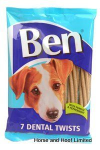 Ben Dental Twists Dog Chews 12 x 7 Ben Dental Twists Dog Chews have been made with pumice peppermint to give them a minty clean kick aswell as giving them the ideal texture for rubbing away excess plaque & tartar.