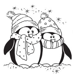 Stampendous - Cling Mounted Rubber Stamp - Bundled Penguins