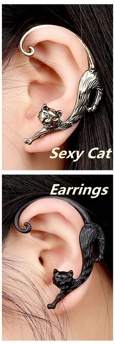 [Newchic Online Shopping] US$ 3.99 Trendy 1Pc Left Ear Exaggerated Alloy Winding Cat Earring
