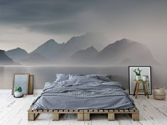 Foggy lake Scandinavian Bedroom Wall Murals Nature Pixers We live to chang., Foggy lake Scandinavian Bedroom Wall Murals Nature Pixers We live to change. White Bedroom, Bedroom Sets, Modern Bedroom, Bedroom Wall, Master Bedroom, Bedroom Decor, Bedroom Murals, Contemporary Bedroom, Wall Decor