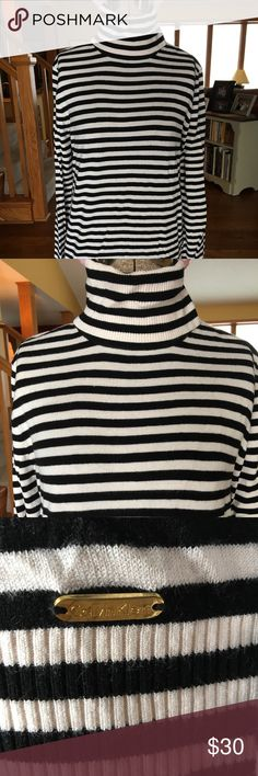 NWOT Calvin Klein Striped Turtleneck NWOT Black and white striped Calvin Klein long sleeved turtleneck. Size S. Classic piece for any closet! Calvin Klein Sweaters Cowl & Turtlenecks