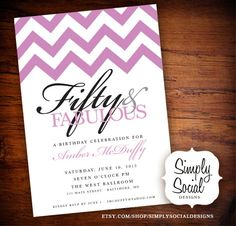 50th Birthday Party Invitation with Chevron. #Home
