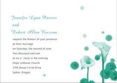 Affordable Simple Green Calla Lily Wedding Invitations EWI106  