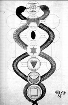 The Eastern Chakras and the Western Tree of Life  drawn by Aleister Crowley