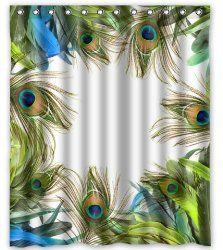 """Peacock Feather Shower Curtain 60""""X72"""" $26.48 www.allthingspeacock.com - Peacock Bathroom"""