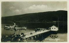 """Oppland fylke Lillhammer  D/S """"SKIBLADNER"""" ved Lillehammer brygge med biler og reisende i 1926 Utg Normann"""