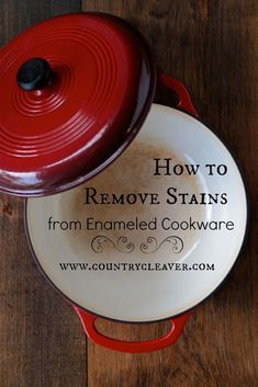 Find out how to remove stains from enameled cookware with easy, all natural steps! No harsh chemicals here, just a little elbow grease is all you need! Yesterday's Hawaiian Kalua Pork basically did a number on my dutch oven… Did you see it? Yeah, go see what 6 hours of slow roasting can do, besides …
