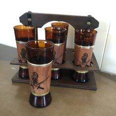 Siesta Ware Pirate or Conquistador Glasses in Carrier Vintage Barware