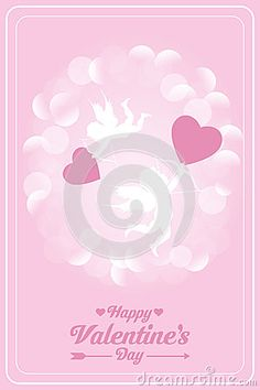 Happy valentines day card with cupids - vector illustration in pink