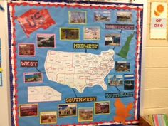 Love this map with the photos of landmarks. I think my classroom map needs some updating now! 4th Grade Social Studies, Social Studies Classroom, Teaching Social Studies, Teaching Us History, Teaching Geography, Classroom Map, Classroom Ideas, History Bulletin Boards, Geography Bulletin Board