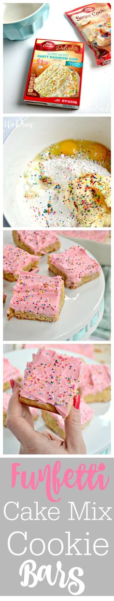 Delicious Funfetti Cake Mix Cookie Bars from The Cards We Drew--easy to make, soft, and delicious! The perfect Valentine's Day dessert!