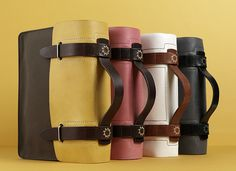 messenger bags, waxed canvas, leather.