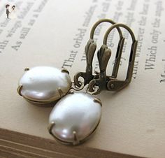 Vintage Rhinestone Pearl Earrings Antiqued Brass Pearl Drops - Bridesmaid gifts (*Amazon Partner-Link)