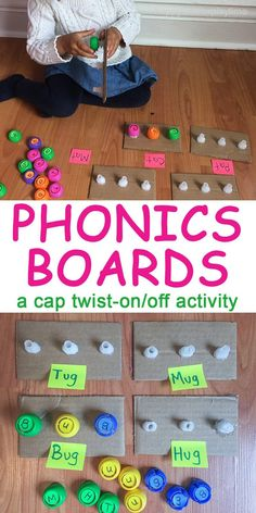 Another fun learning activity using squeeze pouch lids (or caps) and the twist on and off spouts. These cap twist-on and off activities are great at combining fine motor skills with almost anything else! Here I combine it with phonics. Play Based Learning, Toddler Learning, Learning Toys, Toddler Preschool, Toddler Games, Toddler Crafts, Preschool Ideas, Kids Crafts, Educational Baby Toys