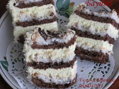 """Пляцок """"Баунті"""" Russian Cakes, Russian Desserts, Russian Recipes, Hungarian Cake, Traditional Cakes, Homemade Cakes, Sweet Recipes, Food To Make, Cake Decorating"""