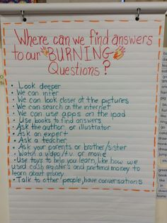 Burning Questions Anchor Chart-For exploratory Research