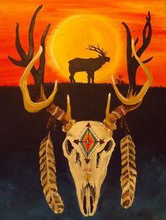 Native American Art Brother Elk 18x24 Acrylic by MedicineWheelArt, $500.00