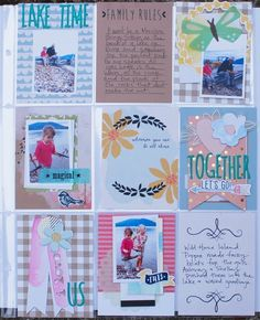 Lake Time, by Denise Morrison using the Brand New Day collection from www.cocoadaisy.com #cocoadaisy #scrapbooking #kitclub #layout #pocketpages #projectlife #DITL #watercolor #diecuts #vellum #washi